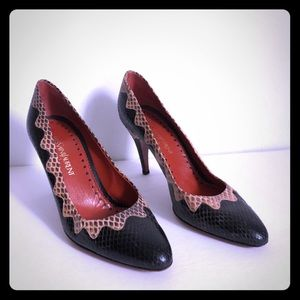Yves St Laurent snake skin red bottom pump